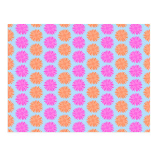 Pink and Orange Floral Pattern on Light Blue. Postcard