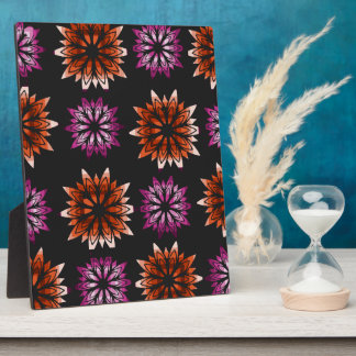 Pink and orange floral pattern plaque