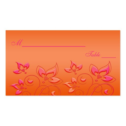 Pink and Orange Floral Placecards Double-Sided Standard Business Cards (Pack Of 100)