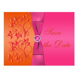 Pink and Orange Floral Save the Date Postcard