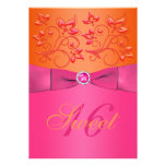 Pink and Orange Floral Sweet Sixteen Invitation