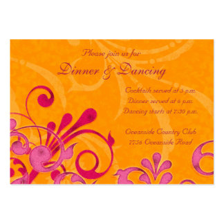 Pink and Orange Floral Wedding Reception Card Large Business Cards (Pack Of 100)