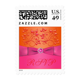Pink and Orange Floral Wedding RSVP Postage