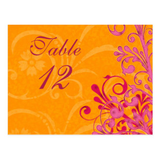 Pink and Orange Floral Wedding Table Cards