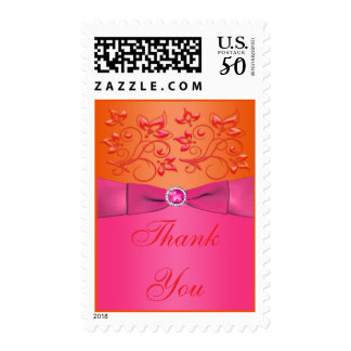 Pink and Orange Floral Wedding Thank You Postage