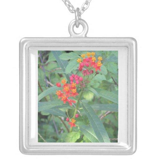Pink and Orange Flower Necklace