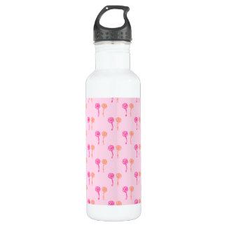 Pink and Orange Flower Pattern. 24oz Water Bottle