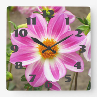 Pink And Orange Flower Square Wall Clock