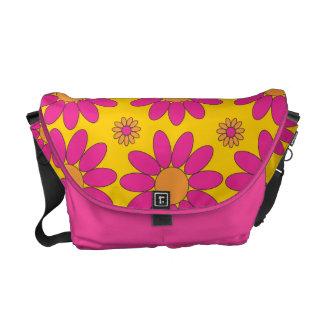 Pink and Orange Flowers Messenger Bag