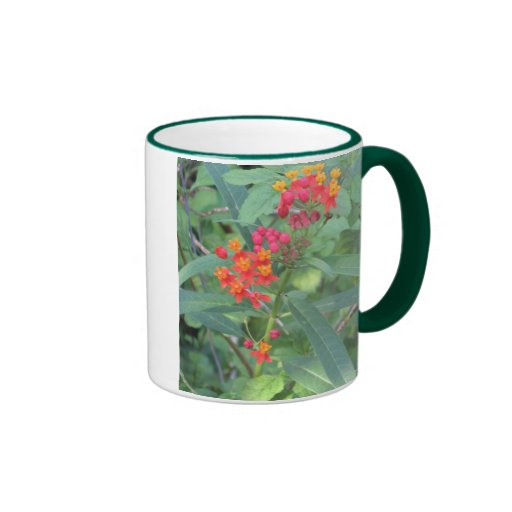 Pink and Orange Flowers Ringer Coffee Mug