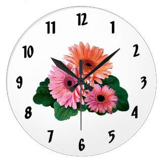 Pink and Orange Gerbera Daisies Round Clocks