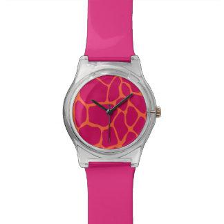 Pink and Orange Giraffe Print Pattern Wristwatch
