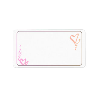 Pink and Orange Hearts Address Labels