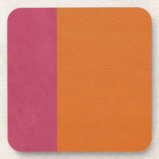 Pink and Orange Leather Look Drink Coaster