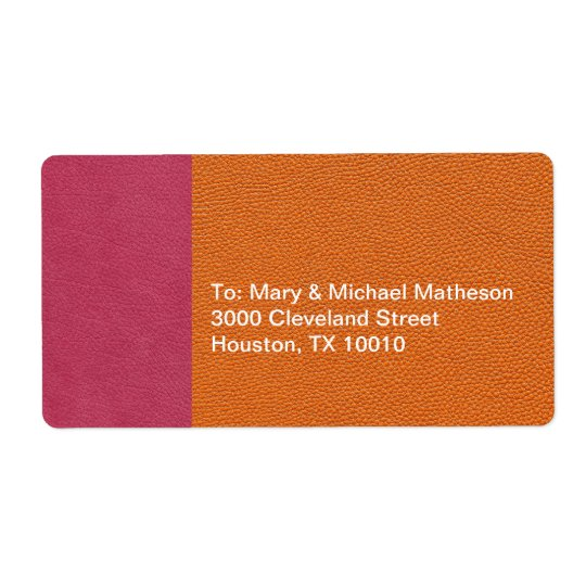 Pink and Orange Leather Look Label