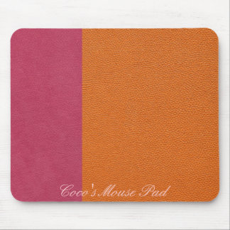 Pink and Orange Leather Look Mouse Pad