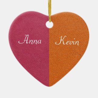 Pink and Orange Leather Look Ornaments