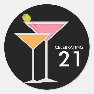 Pink and Orange Martinis Stickers
