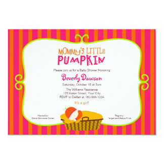 Pink and Orange Mommy's Little Pumpkin Baby Shower Card