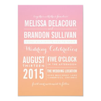Pink and Orange Ombre Gradient Wedding Invitations