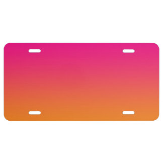 """""""Pink And Orange Ombre"""" License Plate"""