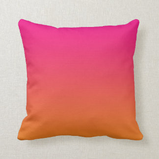 """""""Pink And Orange Ombre"""" Throw Pillows"""