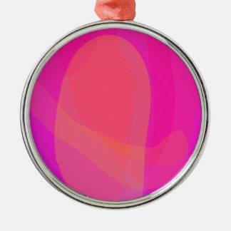 Pink and Orange Round Metal Christmas Ornament
