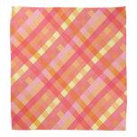 Pink and orange plaid bandana