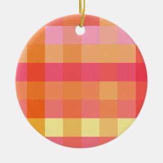 Pink and orange plaid ceramic ornament