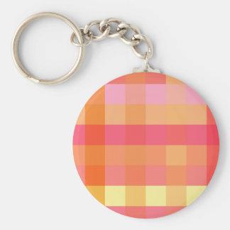 Pink and orange plaid keychain