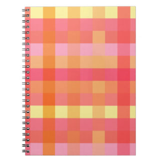 Pink and orange plaid notebook