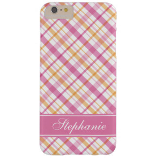 Pink and Orange Plaid Pattern Barely There iPhone 6 Plus Case