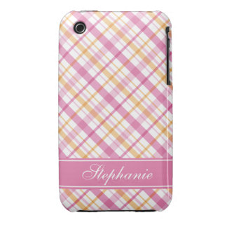 Pink and Orange Plaid Pattern iPhone 3 Case-Mate Cases