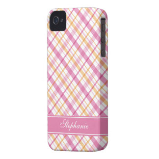Pink and Orange Plaid Pattern iPhone 4 Covers