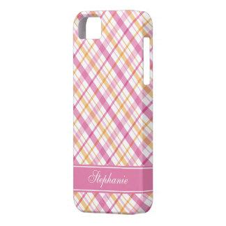 Pink and Orange Plaid Pattern iPhone SE/5/5s Case