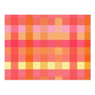 Pink and orange plaid postcard