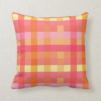 Pink and orange plaid throw pillow