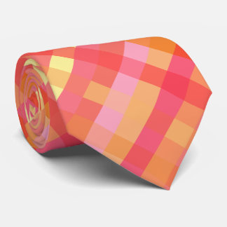 Pink and orange plaid tie