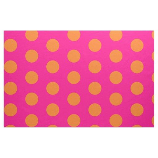 pink and orange polka dot combed cotton fabric zazzle. Black Bedroom Furniture Sets. Home Design Ideas