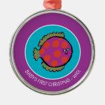 Pink and Orange Polka-Dot Fish Metal Ornament