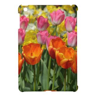 Pink and orange spring tulips ipad mini case