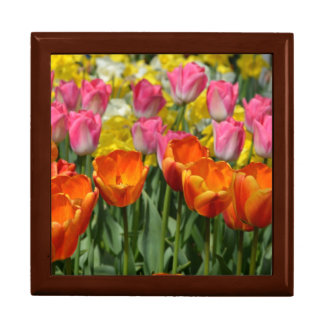 Pink and orange spring tulips print gift box