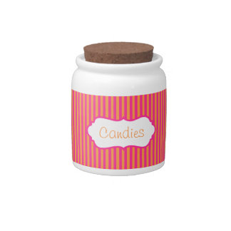 Pink and Orange Striped Candy Jar