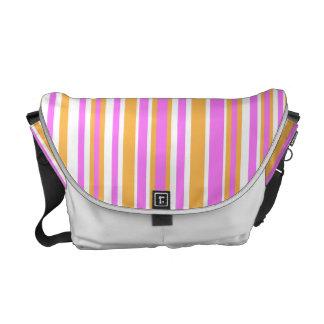 Pink and Orange Stripes Messenger  Bag Courier Bag