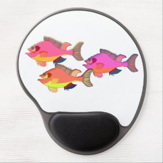 Pink and Orange Tropical Fish Trio Gel Mouse Pad