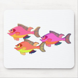 Pink and Orange Tropical Fish Trio Mouse Pad