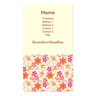 PInk and Orange Tropical Flower Pattern Business Card Template