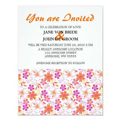 Pink and Orange Tropical Flower Pattern Card