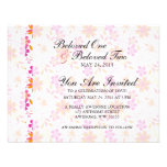Pink and Orange Tropical Flower Pattern Personalized Announcements