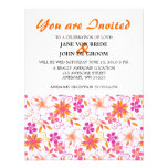 Pink and Orange Tropical Flower Pattern Custom Invitation